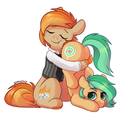 Size: 1145x1055 | Tagged: artist:survya, butt, butthug, clothes, earth pony, female, freckles, hug, lesbian, mare, necktie, oc, oc:minty pop, oc only, oc:parlay, oc x oc, parpop, pony, safe, shipping, vest