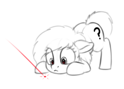 Size: 1060x761 | Tagged: safe, artist:smoldix, oc, oc only, oc:filly anon, earth pony, pony, behaving like a cat, face down ass up, female, filly, floppy ears, imminent pounce, laser pointer, sketch, solo