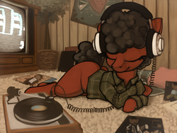Size: 2074x1562 | Tagged: 80s, afro, artist:marsminer, clothes, curly hair, curly mane, female, headphones, isaac hayes, mare, michael jackson, oc, oc only, quincy jones, record player, records, safe, solo, television