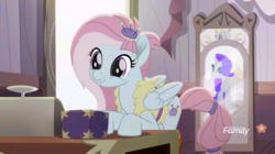 Size: 1916x1072 | Tagged: amputee, box, colored, color edit, edit, edited screencap, kerfuffle, mirror, pegasus, pony, prosthetic leg, prosthetic limb, prosthetics, rainbow roadtrip, rarity, safe, saturated, screencap, spoiler:rainbow roadtrip, unicorn
