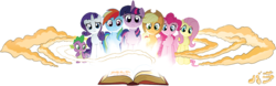 Size: 1200x375 | Tagged: applejack, artist:tonyfleecs, banner, book, editor:lord valtasar, fluttershy, mane seven, mane six, mlpforums, pinkie pie, rainbow dash, rarity, safe, spike, twilight sparkle, twilight sparkle (alicorn), worried