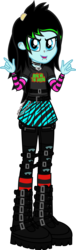 Size: 626x2050 | Tagged: arm warmers, artist:lightningbolt, belt, boots, bring me the horizon, chains, choker, clothes, derpibooru exclusive, devil horn (gesture), drop dead clothing, dyed hair, ear piercing, earring, equestria girls, equestria girls-ified, eyeliner, female, hairpin, jeans, jewelry, leg warmers, linkin park, looking at you, makeup, necklace, nose piercing, oc, oc only, oc:scene chick, open mouth, pants, piercing, pleated skirt, ripped jeans, safe, scene, shirt, shoes, simple background, skirt, snake bites, solo, spiked choker, straps, tights, transparent background, t-shirt, vector, wristband