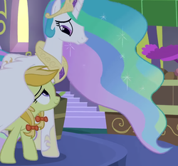 Size: 674x628 | Tagged: safe, screencap, jonagold, marmalade jalapeno popette, princess celestia, alicorn, earth pony, pony, the summer sun setback, apple family member, background pony, bow, canterlot, comfort, cropped, crown, duo, ethereal mane, female, flowing mane, hair bow, hoof shoes, hug, jewelry, looking at each other, looking down, looking up, mare, momlestia fuel, motherly, night, regalia, smiling, winghug