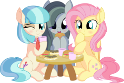 Size: 8848x5961 | Tagged: safe, artist:cyanlightning, coco pommel, fluttershy, marble pie, earth pony, pegasus, pony, .svg available, absurd resolution, blushing, burger, chest fluff, chocolate, cocobetes, coffee cup, cup, cute, ear fluff, eating, eclair, female, folded wings, food, hair, hay burger, holding, marblebetes, mare, one eye closed, open mouth, shyabetes, simple background, sitting, table, the council of shy ponies, transparent background, trio, trio female, vector, wings, wink