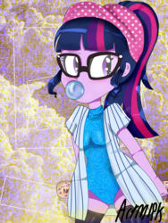 Size: 1800x2400 | Tagged: adorkable, alternate costumes, artist:artmlpk, baseball, baseball bat, baseball cap, blowing bubbles, blushing, boots, bubblegum, cap, clothes, cute, design, dork, equestria girls, female, food, glasses, gum, hat, leotard, ponytail, safe, sci-twi, shoes, solo, sports, sweater, turtleneck, twiabetes, twilight sparkle