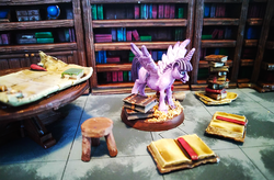 Size: 1200x785 | Tagged: alicorn, artist:velgarn, book, bookhorse, bookshelf, derpibooru exclusive, excited, figurine, gaming miniature, library, map, miniature, pewter ponies, photo, pile of books, pony, safe, scenery, solo, stool, table, twilight sparkle, twilight sparkle (alicorn)