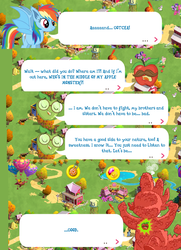 Size: 1052x1456 | Tagged: safe, idw, fluttershy, good apple, mustachioed apple, rainbow dash, spike, bat pony, night of the living apples, spoiler:comic, spoiler:comic33, apple monster, bad apple, bat ponified, dialogue, game screencap, gameloft, race swap, rainbowbat