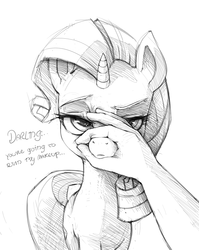 Size: 886x1111 | Tagged: annoyed, artist:artguydis, cute, darling, female, frown, glare, grabbing, grayscale, hand, human, looking at you, mare, monochrome, offscreen character, offscreen human, pony, pov, raised eyebrow, raribetes, rarity, rarity is not amused, safe, simple background, sketch, solo focus, unamused, unicorn, white background