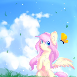 Size: 1000x1000 | Tagged: safe, artist:dddreamdraw, fluttershy, butterfly, pegasus, pony, blushing, ear fluff, eye clipping through hair, female, grass, looking at something, looking sideways, mare, one wing out, outdoors, raised hoof, sitting, sky, solo, three quarter view, wings