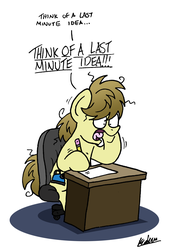 Size: 1422x2106 | Tagged: artist:bobthedalek, atg 2019, desk, messy mane, newbie artist training grounds, oc, oc:kettle master, oc only, office chair, paper, pencil, safe, stressed, twitch