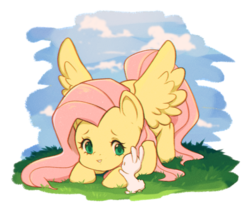 Size: 1645x1392 | Tagged: angel bunny, animal, artist:cherrylenn, cute, duo, face down ass up, female, fluttershy, male, mare, pegasus, pony, rabbit, safe, shyabetes, simple background, spread wings, transparent background, wings