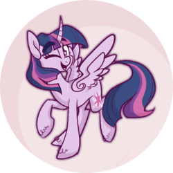 Size: 990x989 | Tagged: safe, artist:binkyt11, twilight sparkle, alicorn, classical unicorn, pony, unicorn, cloven hooves, curved horn, cute, female, horn, leonine tail, mare, one eye closed, solo, spread wings, starry eyes, twiabetes, twilight sparkle (alicorn), unshorn fetlocks, wingding eyes, wings, wink