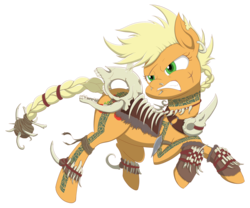 Size: 3000x2493 | Tagged: angry, applejack, armor, artist:janji009, barbarian, bone, braided tail, card game, crossover, ear piercing, earring, earth pony, female, gruul clans, high res, horse skull, jewelry, magic the gathering, mare, necklace, nose piercing, part of a series, part of a set, piercing, pony, ravnica, safe, scar, short mane, simple background, skull, solo, tattoo, transparent background