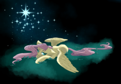 Size: 2000x1382 | Tagged: artist:mysteriousshine, female, fluttershy, grass, mare, night, pegasus, pony, safe, solo, stars