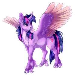 Size: 2628x2640 | Tagged: alicorn, artist:gaelledragons, chest fluff, classical unicorn, cloven hooves, curved horn, female, horn, mare, outline, pony, safe, simple background, solo, spread wings, transparent background, twilight sparkle, twilight sparkle (alicorn), unshorn fetlocks, wings