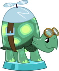 Size: 2723x3307 | Tagged: artist:phucknuckl, goggles, high res, my little pocket ponies, part of a series, part of a set, pocket ponies, propeller, safe, simple background, smiling, solo, tank, tortoise, transparent background