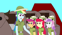 Size: 1773x1009 | Tagged: apple bloom, artist:eli-j-brony, clothes, cutie mark crusaders, daring do, deer, equestria girls, equestria land, explorer, explorer outfit, hat, pith helmet, rainbow dash, ride, roller coaster, safari, safe, scootaloo, sweetie belle, volcano