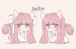 Size: 4629x3000 | Tagged: amputee, artist:angelbeat-drift, bandage, blushing, bow, crying, face mask, female, hair bow, mare, oc, oc only, oc:shelter, pegasus, pigtails, reference sheet, safe