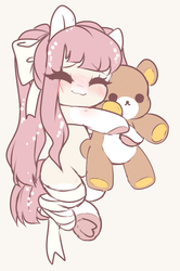 Size: 1956x2940 | Tagged: artist:angelbeat-drift, bandage, eyes closed, female, mare, oc, oc only, oc:shelter, pegasus, pony, ribbon, safe, smiling, solo, teddy bear