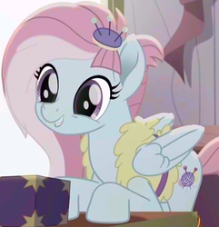 Size: 843x876 | Tagged: amputee, box, colored, color edit, cropped, cute, daaaaaaaaaaaw, edit, edited screencap, female, fufflebetes, happy, hnnng, kerfuffle, mare, pegasus, pony, prosthetic leg, prosthetic limb, prosthetics, rainbow roadtrip, safe, saturated, screencap, smiling, solo, spoiler:rainbow roadtrip, weapons-grade cute