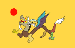 Size: 1400x900 | Tagged: safe, artist:horsesplease, discord, draconequus, pony, china, chinese, chinese dragon, flag, history, ponified, qing dynasty