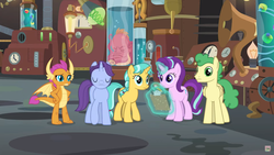 Size: 1920x1080 | Tagged: safe, screencap, citrine spark, fire quacker, huckleberry, november rain, smolder, starlight glimmer, dragon, pegasus, pony, unicorn, a horse shoe-in, spoiler:s09e20, claws, clipboard, eyes closed, friendship student, glowing horn, guidance counselor, hands on hip, headmare starlight, horn, horns, laboratory, magic, magic aura, male, pencil, raised eyebrow, specimens, spread wings, students, teacher and student, teenaged dragon, teenager, unimpressed, wings, young mare, young stallion