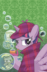 Size: 1186x1800 | Tagged: alicorn, artist:thomzahler, bubble pipe, cover, deerstalker, detective, dragon, female, hat, idw, looking at you, looking back, looking back at you, male, mare, pipe, safe, sherlock holmes, silver blaze, spike, spoiler:comic, spoiler:comic83, turtle, twilight sparkle, twilight sparkle (alicorn)