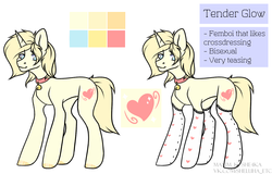 Size: 1700x1087 | Tagged: safe, artist:hellishprogrammer, oc, oc only, oc:tender glow, pony, unicorn, bell, bell collar, clothes, collar, femboy, heart, male, reference sheet, simple background, socks, solo, stallion, stockings, thigh highs, watermark, white background