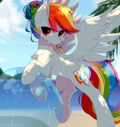 Size: 900x950 | Tagged: safe, artist:heddopen, rainbow dash, pegasus, pony, alternate hairstyle, ball, beach, beach ball, chest fluff, cute, dappled sunlight, female, food, hair bun, ice cream, looking at you, mare, solo, sweat, wings