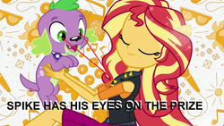 Size: 1920x1080 | Tagged: clothes, dog, edit, equestria girls, equestria girls series, eyes closed, eyes on the prize, female, geode of empathy, jacket, leather jacket, magical geodes, male, paws, ponied up, safe, screencap, smiling, spike, spike's dog collar, spike the regular dog, sunset shimmer, text, theme song