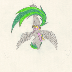 Size: 2129x2136 | Tagged: safe, artist:mraagh, oc, oc only, oc:maze, oc:sorunome, earth pony, pegasus, pony, ^^, belt, big tail, blank flank, color pencil, colored, colors, crossed hooves, cute, drawing, eyes closed, female, filly, floating, flying, gravity, gray coat, green, green mane, green tail, grey body, grey fur, grin, happy, hug, lavender, lead belt, mare, paper, pencil, purple, scan, scanned, simple background, smiling, spiky mane, spiky tail, striped mane, striped tail, tail, traditional art, upside down, wings, yellow mane, yellow tail