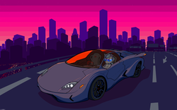 Size: 3840x2400 | Tagged: artist:darkdoomer, car, city, cityscape, driving, legitimately amazing mspaint, lights, ms paint, retrowave, road, safe, silver spoon, solo, sportscar, sunset, wallpaper