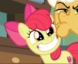 Size: 755x624 | Tagged: safe, screencap, apple bloom, goldie delicious, earth pony, pony, going to seed, adorabloom, cropped, cute, elderly, faic, female, filly, happy, smiling, solo focus, teeth