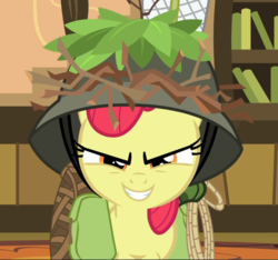 Size: 1004x939 | Tagged: apple bloom, cropped, evil grin, going to seed, grin, hat, looking at you, narrowed eyes, rope, saddle bag, safe, screencap, smiling, solo, spoiler:s09e10