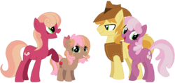 Size: 1024x485 | Tagged: safe, artist:camomiie, braeburn, cheerilee, pony, cheerburn, family, female, male, parent:braeburn, parent:cheerilee, parents:cheerburn, shipping, straight