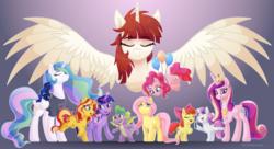 Size: 5500x3000 | Tagged: safe, artist:katakiuchi4u, apple bloom, fluttershy, pinkie pie, princess cadance, princess celestia, princess luna, scootaloo, spike, sunset shimmer, sweetie belle, twilight sparkle, oc, oc:fausticorn, alicorn, dragon, earth pony, pegasus, pony, unicorn, bronycon, balloon, clothes, cutie mark, cutie mark crusaders, faustabetes, female, filly, glowing horn, hoof hold, horn, magic, male, mare, microphone, royal sisters, shirt, telekinesis, the cmc's cutie marks, twilight sparkle (alicorn), winged spike