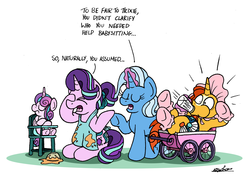 Size: 3013x2109 | Tagged: alicorn, alternate hairstyle, apron, artist:bobthedalek, atg 2019, baby bottle, baby carriage, bonnet, booties, clothes, eyes closed, facehoof, highchair, magic, naked apron, newbie artist training grounds, pony, ponytail, princess flurry heart, robe, safe, starlight glimmer, sunburst, sunburst's robe, telekinesis, trixie, unicorn