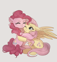 Size: 1193x1298 | Tagged: artist:tcn1205, duo, earth pony, eyes closed, female, flutterpie, fluttershy, hug, lesbian, mare, one eye closed, pegasus, pinkie pie, pony, request, safe, shipping, simple background, white background