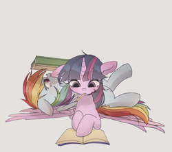 Size: 1463x1300 | Tagged: safe, artist:tcn1205, rainbow dash, twilight sparkle, alicorn, pegasus, pony, book, female, floppy ears, lesbian, lying on top of someone, mare, mouth hold, pencil, reading, request, shipping, twidash, twilight sparkle (alicorn)