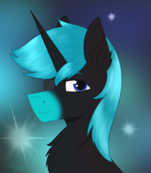 Size: 1366x1570 | Tagged: artist:dyonys, bust, derpibooru exclusive, eyepatch, fluffy, male, oc, oc:angelo, oc only, pony, safe, stallion, unicorn