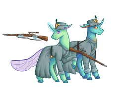 Size: 2100x1600 | Tagged: artist:flaming-trash-can, changedling, changeling, clothes, colored hooves, commission, duo, glowing horn, gun, horn, magic, military, police, quadrupedal, rifle, safe, simple background, telekinesis, uniform, weapon, white background