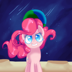 Size: 2000x2000 | Tagged: artist:andromedasparkz, atg 2019, confident, crater, earth, earth pony, female, mare, moon, newbie artist training grounds, pinkie pie, planet, pony, safe, shooting star, solo, space, stars