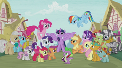 Size: 1280x720 | Tagged: safe, screencap, apple bloom, applejack, big macintosh, carrot cake, cup cake, fluttershy, granny smith, mayor mare, pinkie pie, rainbow dash, rarity, scootaloo, snails, snips, spike, starlight glimmer, sweetie belle, twilight sparkle, zecora, alicorn, dragon, earth pony, pegasus, pony, unicorn, book, colt, cutie mark, cutie mark crusaders, female, filly, intro, male, mane seven, mane six, mare, opening, ponyville, quill, stallion, the cmc's cutie marks, twilight sparkle (alicorn)