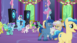 Size: 1280x720 | Tagged: amethyst star, amplifier, apple, balloon, bass cannon, cake, castle, celestial advice, changedling, changeling, cornicle, crystal pony, daisy, dj glasses, dj pon-3, dragon, eyes closed, facial hair, female, filly, flower, flower wishes, food, glasses, goldengrape, ivory, ivory rook, leadwing, male, mare, mayor mare, meadow song, minuette, open mouth, party, pony, safe, sapphire joy, screencap, seafoam, sea swirl, shipping fuel, sir colton vines iii, sparkler, speaker, spike, stallion, sweetie belle, unicorn, vinyl scratch
