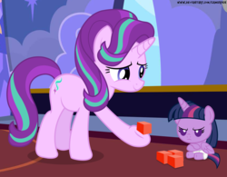 Size: 6400x5000 | Tagged: age regression, ail-icorn, alicorn, artist:gamerpen, baby, babylight sparkle, baby pony, blocks, building blocks, diaper, foal, foalsitting, pony, safe, spoiler:interseason shorts, starlight glimmer, twilight is not amused, twilight sparkle, twilight sparkle (alicorn), unamused