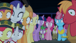 Size: 639x360 | Tagged: safe, screencap, apple bloom, applejack, big macintosh, cup cake, fluttershy, matilda, pinkie pie, rarity, scootaloo, spike, sweetie belle, twilight sparkle, alicorn, dragon, earth pony, pegasus, pony, unicorn, 28 pranks later, cutie mark crusaders, discovery family logo, female, filly, girl scout, girl scout uniform, looking at you, male, mare, stallion, twilight sparkle (alicorn)