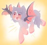 Size: 1712x1656 | Tagged: safe, artist:adostume, oc, oc only, bat, bat pony, pony, bat wings, blushing, female, flying, happy, mare, pet, simple background, smiling, wings