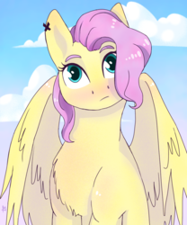 Size: 1000x1200 | Tagged: artist:turn-silence, bust, chest fluff, female, fluttershy, full face view, head tilt, looking at you, mare, outdoors, pegasus, pony, portrait, safe, sky, solo, wings