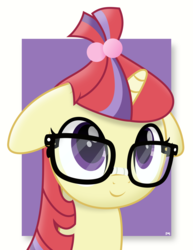 Size: 6146x7972 | Tagged: safe, artist:potato22, moondancer, pony, unicorn, abstract background, bust, cute, dancerbetes, female, floppy ears, glasses, mare, portrait, simple background, solo