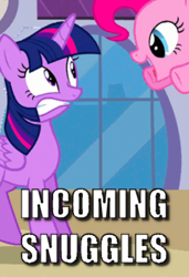 Size: 288x421 | Tagged: safe, edit, edited screencap, screencap, pinkie pie, twilight sparkle, alicorn, princess twilight sparkle (episode), caption, cropped, gritted teeth, image macro, pinkie being pinkie, pounce, text, this will end in snuggles, twilight sparkle (alicorn)